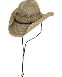 Dorfman Pacific Natural Raided Western Straw Hat