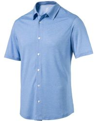 PUMA Blue Knit Golf Shirt for men