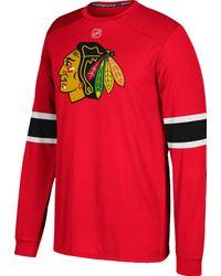 Adidas Chicago Blackhawks Jersey Red Long Sleeve Shirt for men