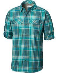 Columbia Blue Silver Ridge Plaid Long Sleeve Shirt for men