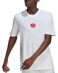 Adidas White 3d Trefoil T-shirt for men