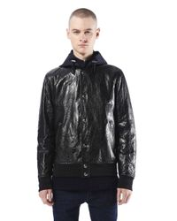 Diesel Black Gold | Black 'lime-print' Waxed Jacket for Men | Lyst