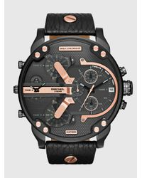 DIESEL Gray Men's Chronograph Heavyweight Black Ion-plated Stainless Steel Bracelet Watch 50x56mm Dz4395 for men