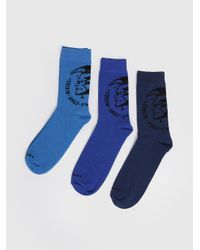 DIESEL - Blue Knee-high 3 Pack Socks With Mohawk for Men - Lyst