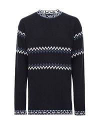 DIESEL - Blue Crew-neck Knit With Pattern for Men - Lyst