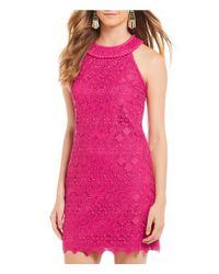 Trina Turk - Pink Deveny Lace Sheath Dress - Lyst