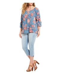 Democracy - Blue Plus Size Floral Print Ruffle Sleeve Mesh Peasant Top - Lyst