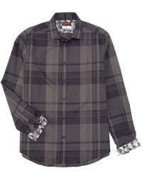 Thomas Dean Gray Large Plaid Grey Long-sleeve Woven Shirt for men