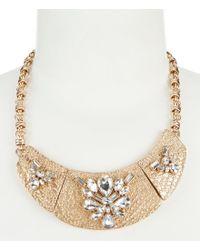 Belle By Badgley Mischka - Metallic Textured Bar & Stone Collar Necklace - Lyst