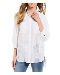 Cremieux - White Eyelet Button Front Tunic Shirt - Lyst