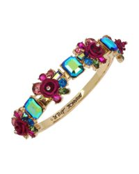 Betsey Johnson Multicolor Rose Cluster Hinged Bangle Bracelet
