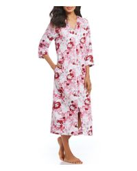 Miss Elaine - Blue Floral-print Sateen Zip-front Long Robe - Lyst