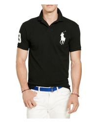 Polo Ralph Lauren Black Big & Tall Classic Fit Big Pony Mesh Cotton Polo for men