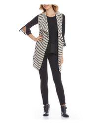 Jones New York - Black Drape Front Stripe Sweater Vest - Lyst