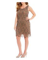 f2396989dab Pisarro Nights Plus Size Beaded Scalloped Sheath Dress in Brown - Lyst