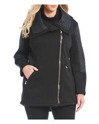 MICHAEL Michael Kors - Black Plus Asymmetric Zip Soft Shell Jacket - Lyst