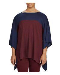 Lauren by Ralph Lauren - Blue Plus Color-blocked Silk-blend Poncho - Lyst