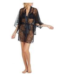 Betsey Johnson - Black Floral Lace & Satin Kimono Wrap Robe - Lyst