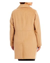 MICHAEL Michael Kors | Black Plus Wool Single Breasted Reefer Coat | Lyst