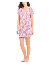 Karen Neuburger - Pink Floral Henley Sleepshirt - Lyst