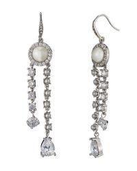 Carolee - Metallic Pearl Premier Pav & Faux-pearl Asymmetrical Linear Drop Earrings - Lyst