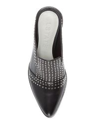 1.STATE - White Lon Leather Pin Dot Stud Block Heel Mules - Lyst