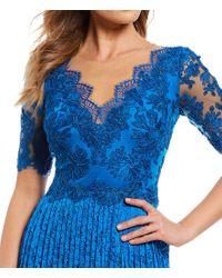 Tadashi Shoji - Blue Pleated Lace Gown - Lyst