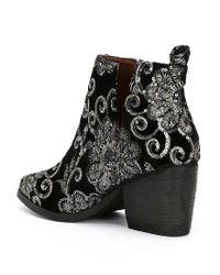 Naughty Monkey - Black Seleni Velvet Floral Sequin Embellishment Booties - Lyst
