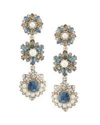 Marchesa - Blue Linear Statement Earrings - Lyst