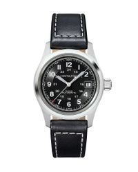Hamilton - Khaki Field Automatic Black Leather-strap Watch for Men - Lyst