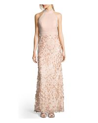 Adrianna Papell - Multicolor Mock Neck Tulle Petal Embroidery Modified Mermaid Gown - Lyst