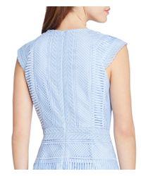 Tahari - Blue Lace Sheath Dress - Lyst
