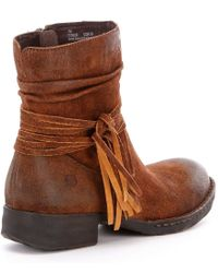 Born - Brown Cross Fringed Western Booties - Lyst