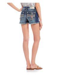 Miss Me Blue Americana Cross-pocket Shorts