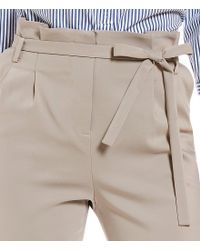 Ivanka Trump Natural Soft Twill Belted Paper-bag Belted Tie Waist Ankle Pants