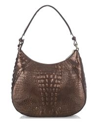 Brahmin - Brown Palermo Collection Amira Tasseled Crocodile-embossed Whip-stitched Hobo Bag - Lyst