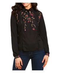 Lucky Brand - Black Mandarin Tie-neck Floral Embroidered Top - Lyst