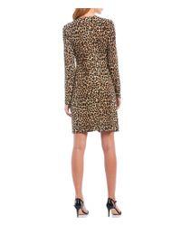 MICHAEL Michael Kors Natural Cheetah Print Matte Jersey V-neck Ruched Detailed Long Sleeve Dress