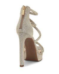 Jessica Simpson Metallic Beyonah Rhinestone Hotfix Platform Dress Sandals