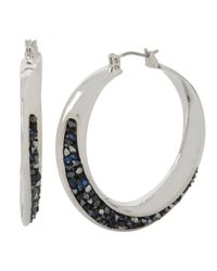 Kenneth Cole | Metallic Sprinkle Stone Hoop Earrings | Lyst