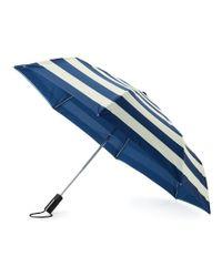 Kate Spade - Blue Jubilee Striped Travel Umbrella - Lyst
