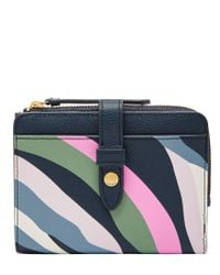 Fossil - Blue Fiona Multifunction Bifold Colorblock Wallet - Lyst