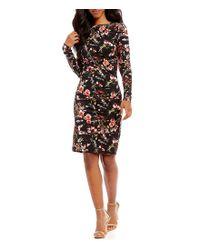 Nicole Miller Artelier - Black Christina Printed Long Sleeve Sheath Dress - Lyst