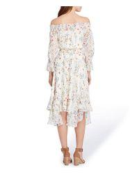 Tahari - Multicolor Off-the-shoulder Tiered Bell Sleeve Floral Print Handkerchief Hem Midi Dress - Lyst