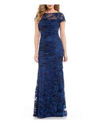 La Femme Blue Cap Sleeve Lace Gown