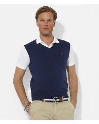 Polo Ralph Lauren | Blue Pima V-neck Sweater Vest for Men | Lyst