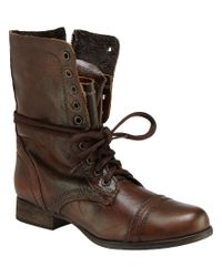 Steve Madden | Brown Troopa Military-inspired Zipper Lace Up Leather Combat Boots for Men | Lyst