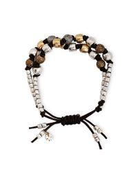 Lucky Brand | Metallic Leather Beaded Bracelet | Lyst