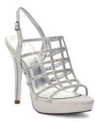 Adrianna Papell | White Maya Metallic Satin Caged Rhinestone Dress Sandals | Lyst