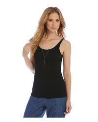 Eileen Fisher | Black Stretch Long Slim Silk Cami | Lyst